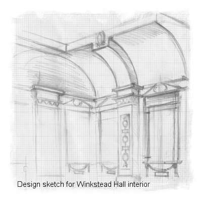 Andrew Brownfoot's design sketch for the Winkstead Hall study.